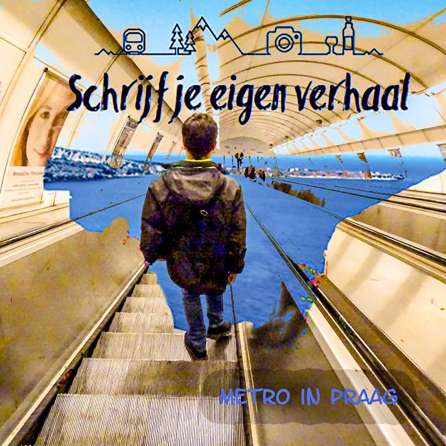 interrail, schrijf je eigen verhaal, plaatje van een jongeman die in de metro van Praag de roltrap naar beneden gaat, zijn eigen verhaal tegemoet